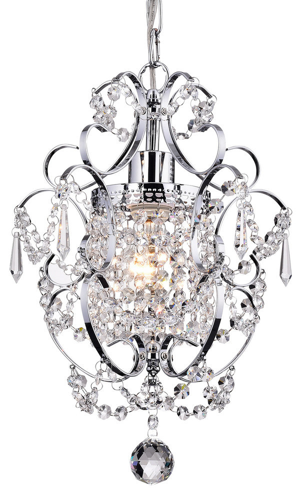 Amorette 1 Light Chrome Glam Lighting Mini Pendant Chandelier With Crystals With Regard To Emaria 3 Light Single Drum Pendants (Image 2 of 25)