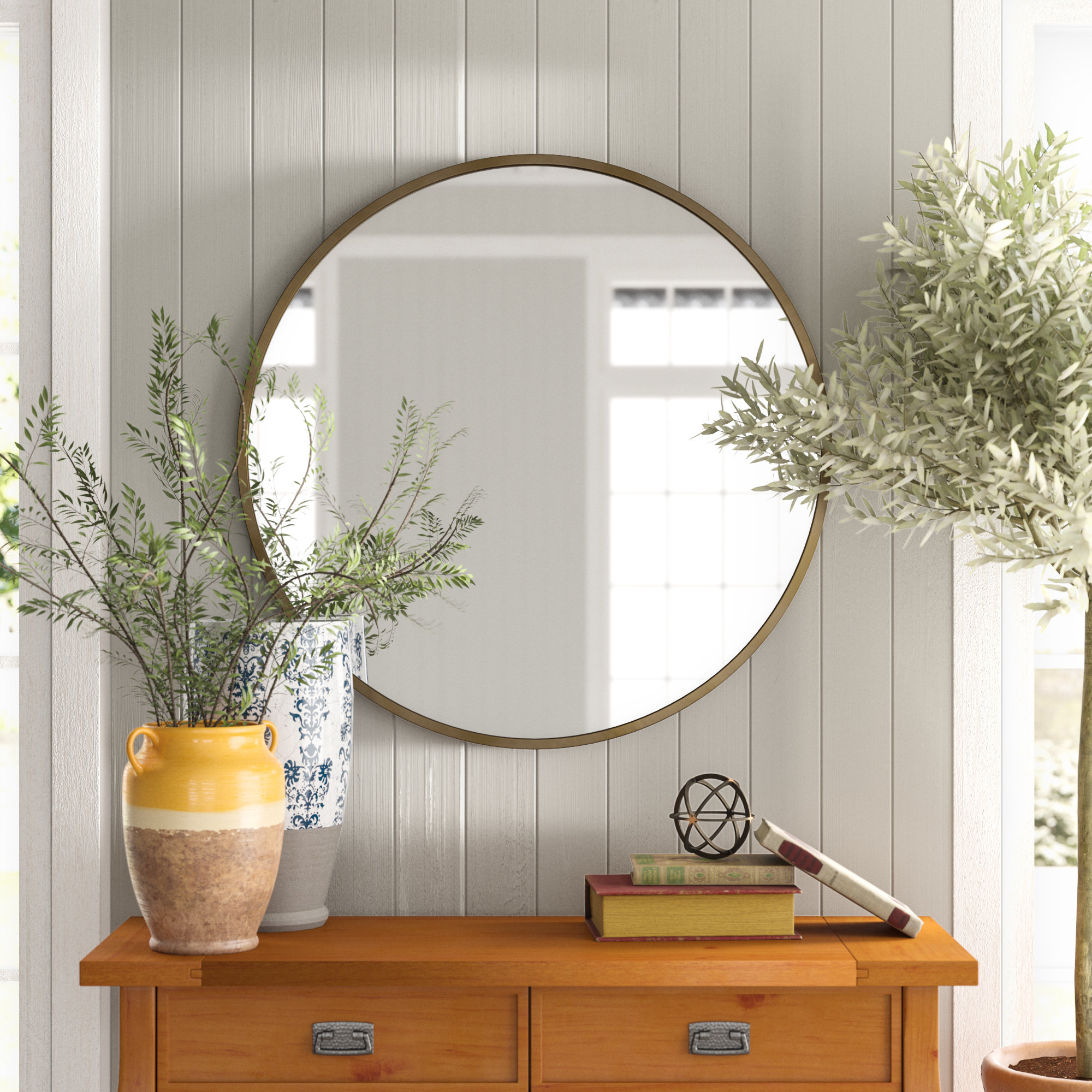 Angie Round Modern & Contemporary Accent Mirror With Regard To Mahanoy Modern And Contemporary Distressed Accent Mirrors (Image 1 of 20)