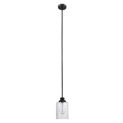 Annecy 1 Light Dark Bronze Pendant With Seeded Glass Shade In Barrons 1 Light Single Cylinder Pendants (View 14 of 25)