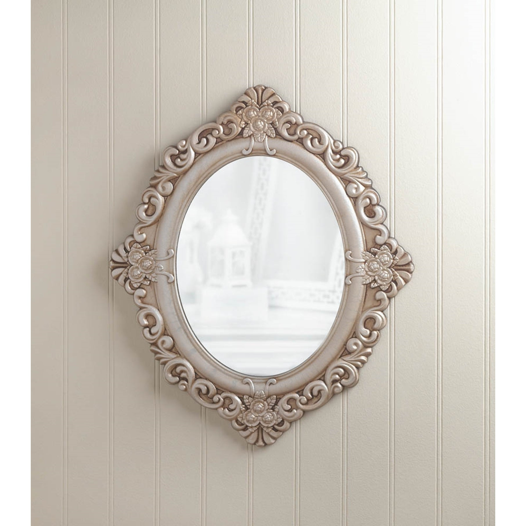 Antique Style Oval Wall Mirror – Antique White Within Oval Wood Wall Mirrors (View 9 of 20)
