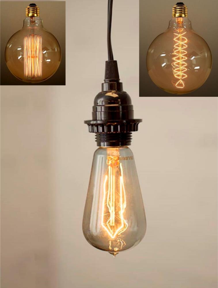Antique Vintage Edison Bulb Plug In Pendant Light Swag Lamp For Vintage Edison 1 Light Bowl Pendants (View 15 of 25)