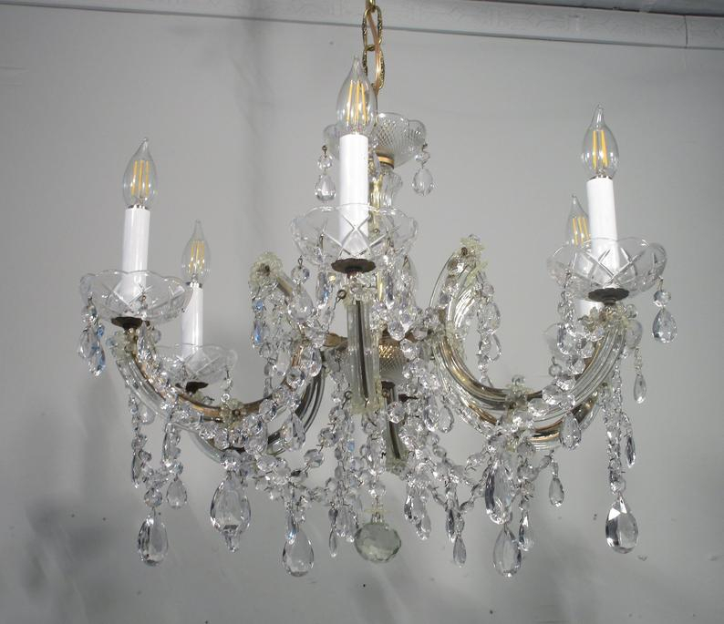 Antique Vintage Maria Theresa 6 Light Chandelier Light Fixture Lamp Crystals In Thresa 5 Light Shaded Chandeliers (View 11 of 20)