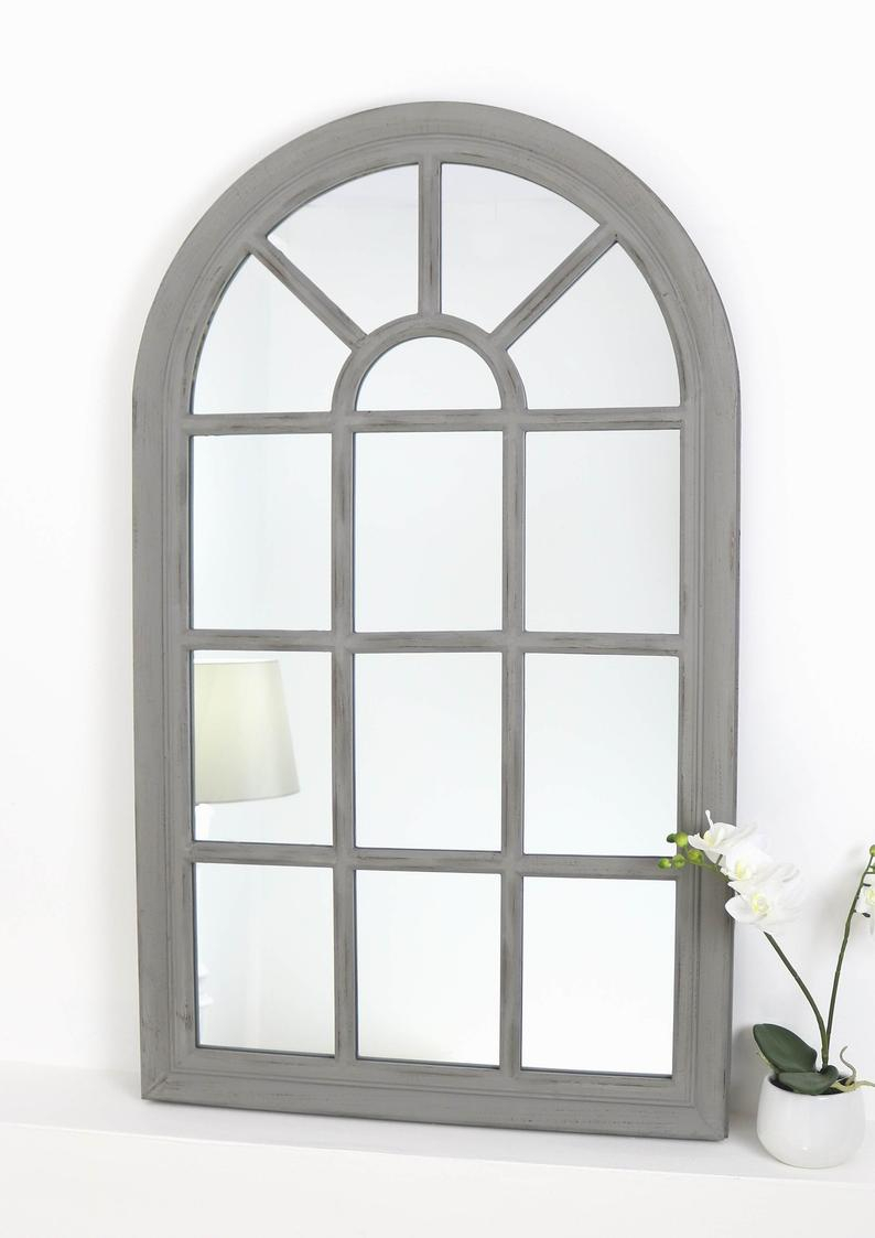 "Arabella Grey Shabby Chic Arched Window Wall Mirror 56"" X 32"" (139Cm X 79Cm) With Metal Arch Window Wall Mirrors (Image 1 of 20)"