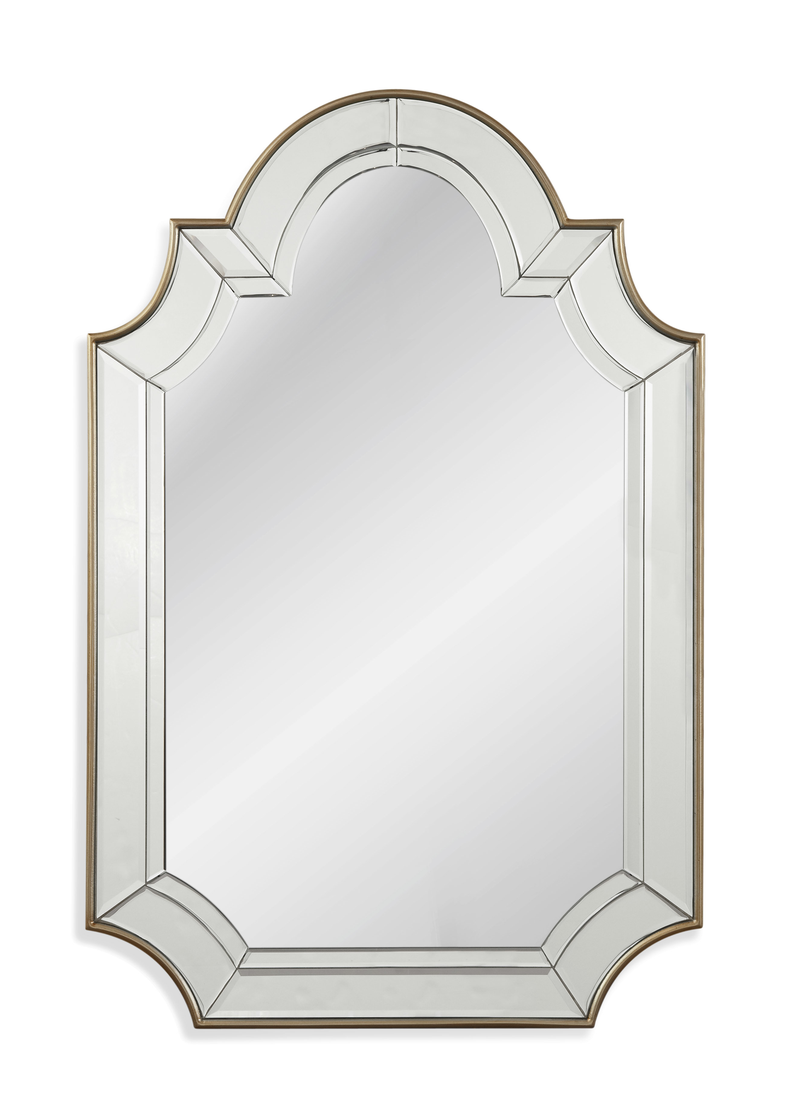 Arch/crowned Top Champagne Wall Mirror Intended For Dariel Tall Arched Scalloped Wall Mirrors (Photo 17 of 20)