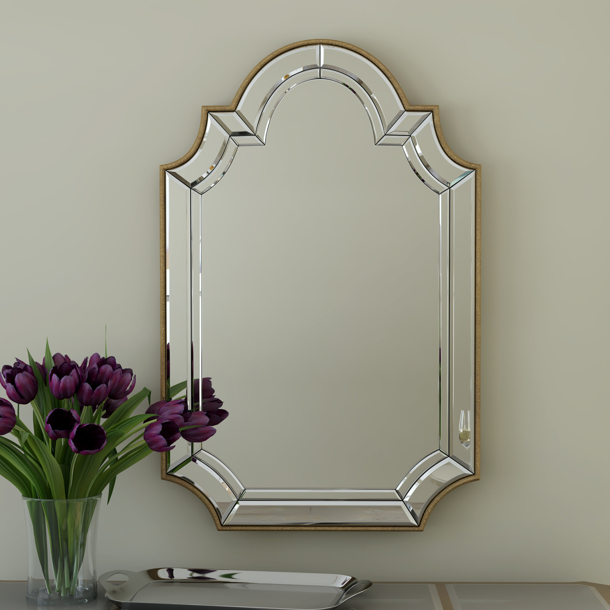 Arch/crowned Top Champagne Wall Mirror Pertaining To Dariel Tall Arched Scalloped Wall Mirrors (Image 5 of 20)