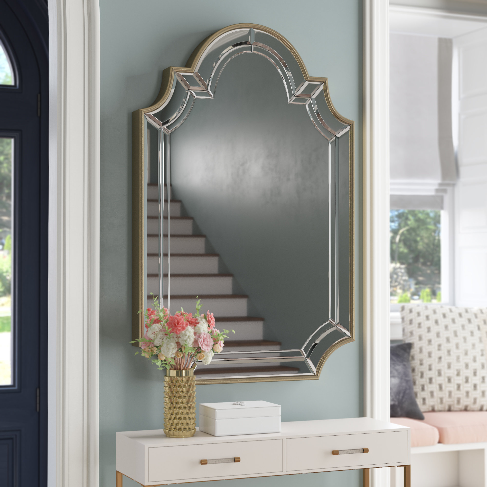 Arch/crowned Top Champagne Wall Mirror With Regard To Ekaterina Arch/crowned Top Wall Mirrors (Image 10 of 20)