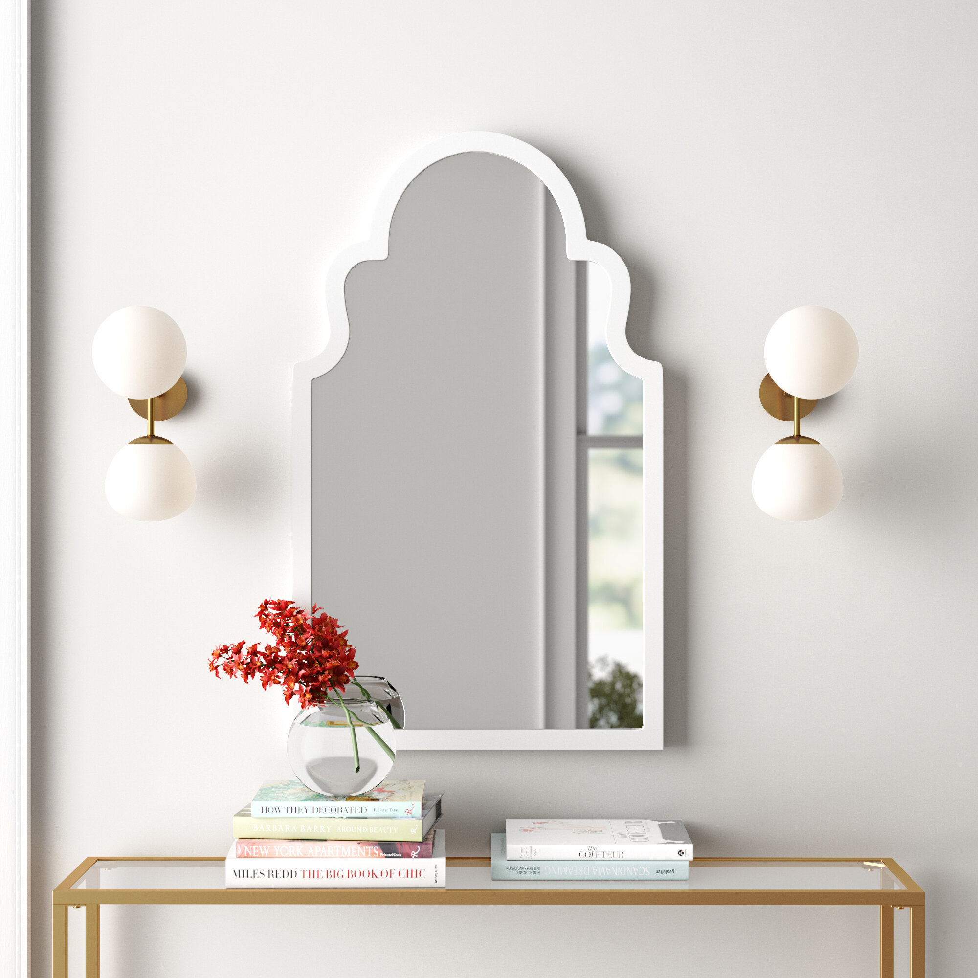 Arch Vertical Wall Mirror Throughout Dariel Tall Arched Scalloped Wall Mirrors (Image 3 of 20)
