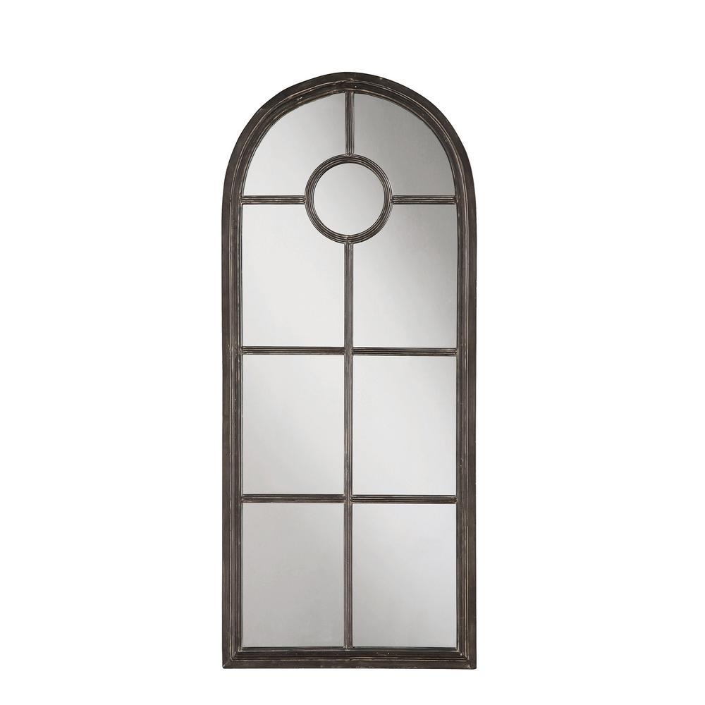 Arched Distressed Black Metal Decorative Wall Mirror Intended For Metal Arch Window Wall Mirrors (Image 2 of 20)