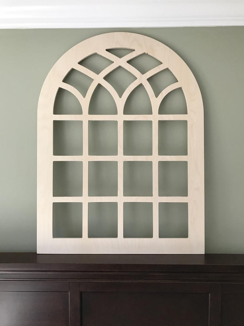 Arched Farmhouse Window Frame, Faux Window Frame, Arched, Stained, Custom Arch, Wall Hanging Wall Decor, Vintage Inspired Large 40X30 With Regard To Faux Window Wood Wall Mirrors (View 15 of 20)