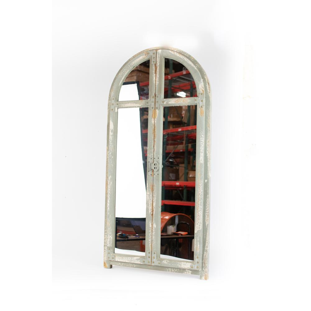 Arched Window Rustic Brown Wood Frame Wall Mirror With Metal Arch Window Wall Mirrors (Image 3 of 20)