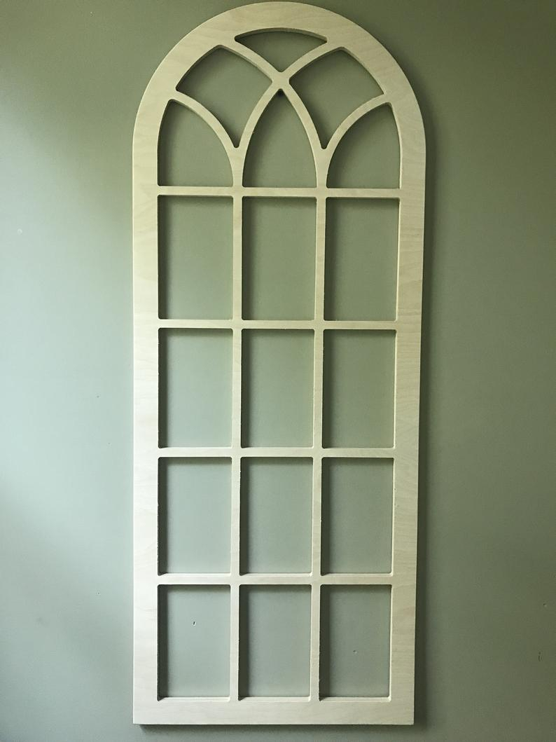Arched Wood Wall Decor, Faux Window Frame, Arched, Stained, Custom Arch, Shabby Chic, Wall Hanging Wall Decor, Shutter, Vintage Inspired 45H Throughout Faux Window Wood Wall Mirrors (View 9 of 20)