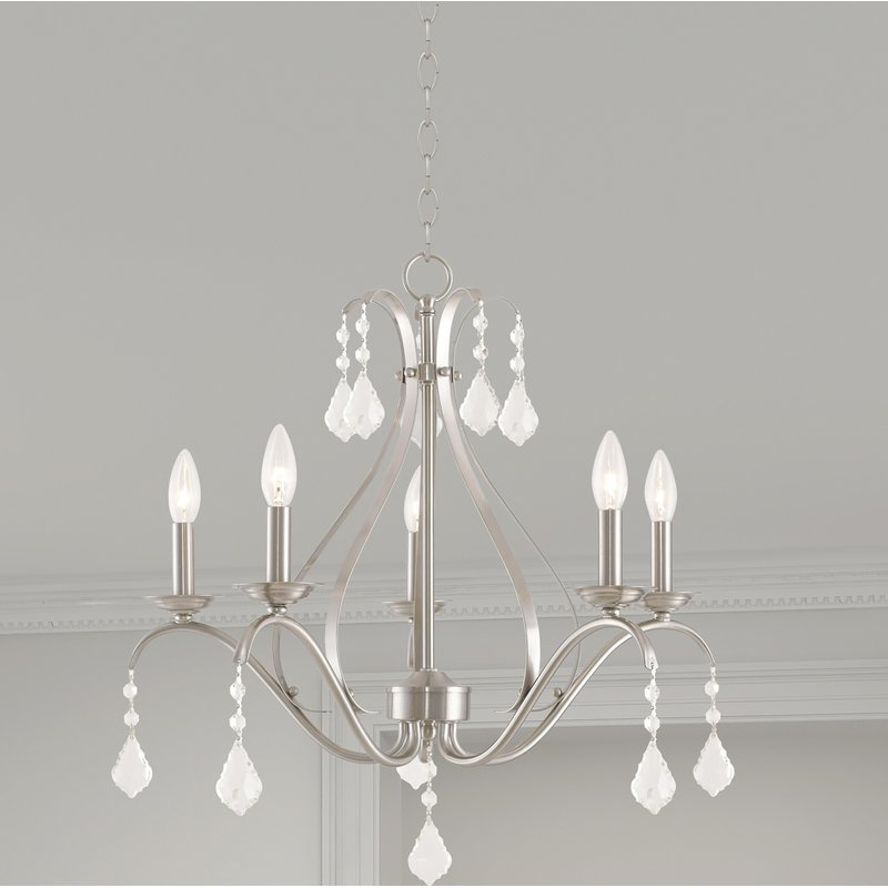 Aria 5 Light Candle Style Chandelier Regarding Hesse 5 Light Candle Style Chandeliers (Image 5 of 20)