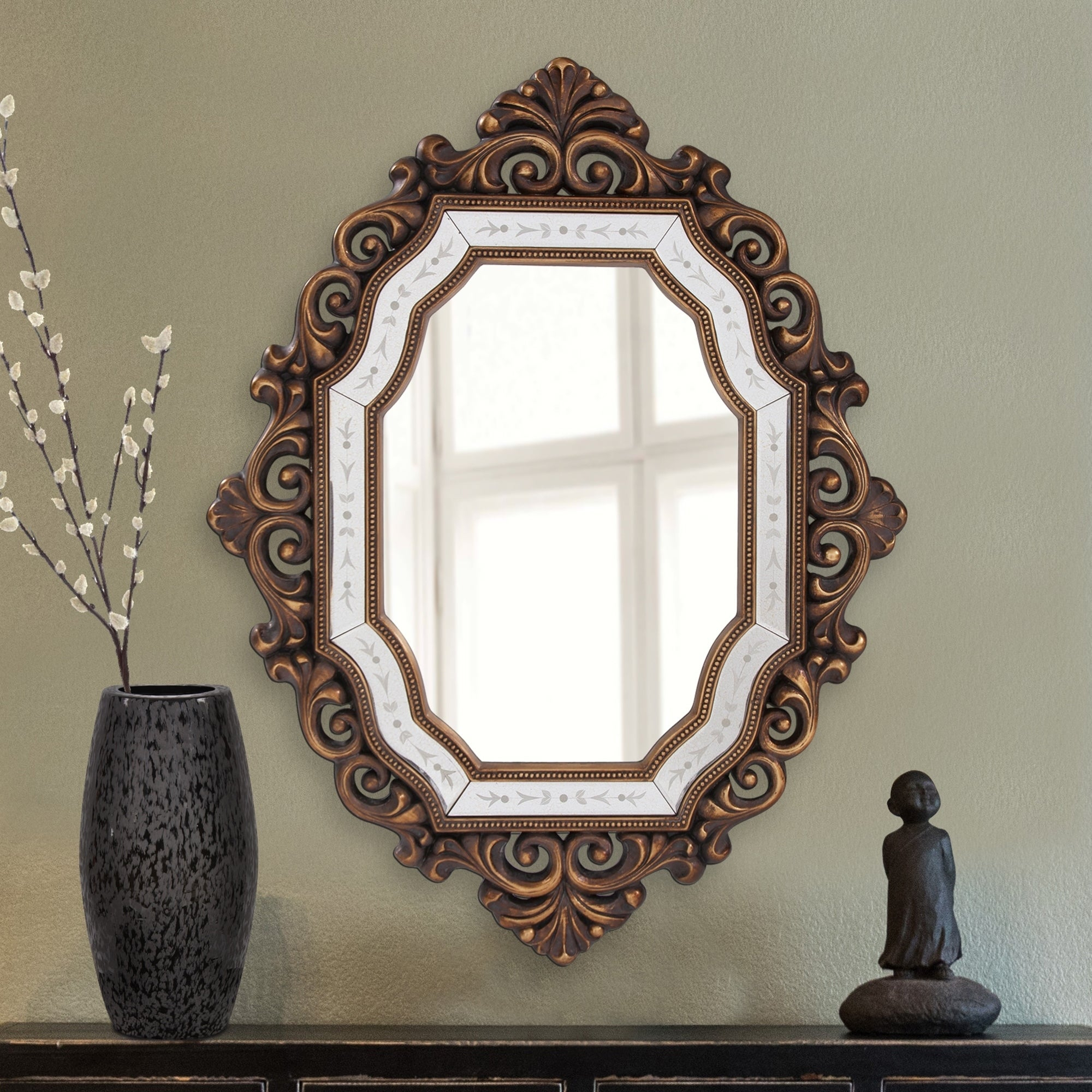 Ariana Gold Scroll Framed Accent Mirror Within Ogier Accent Mirrors (Image 3 of 20)
