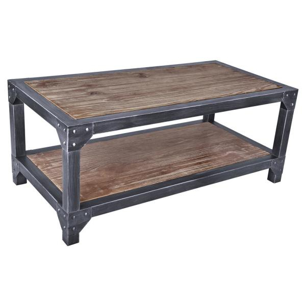 Armen Living Astrid Industrial Grey Coffee Table Lcascosbpi Intended For Paris Natural Wood And Iron 30 Inch Square Coffee Tables (View 18 of 25)