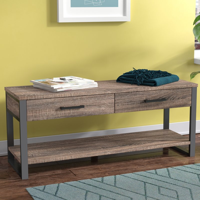 Arsdale Wood Storage Bench With Carbon Loft Lawrence Reclaimed Cube Coffee Tables (Image 4 of 50)