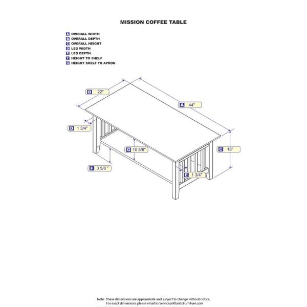 Atlantic Furniture Mission Walnut Coffee Table Ah15204 – The Throughout Mission Walnut Coffee Tables (View 13 of 25)