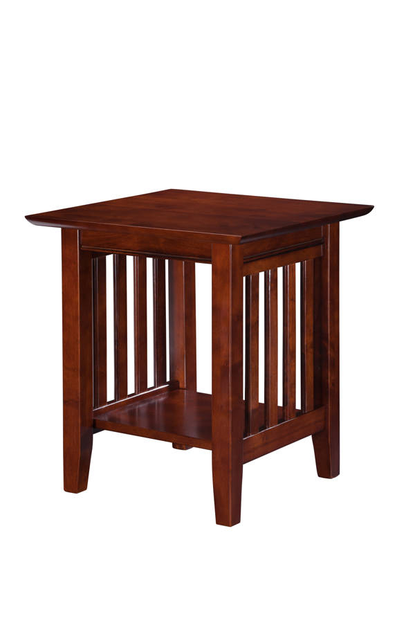 Atlantic Furniture Mission Walnut End Table With Mission Walnut Coffee Tables (View 2 of 25)