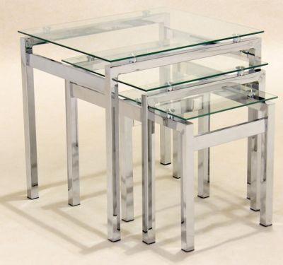 Atlantic Nest Of Three Glass Coffee Tables Pertaining To Strata Chrome Glass Coffee Tables (View 15 of 25)
