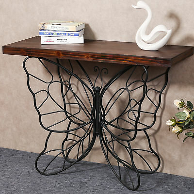 August Grove Shiela Butterfly Console Table 192437433848 | Ebay Regarding Copper Grove Ixia Rustic Oak And Slate Tile Coffee Tables (View 21 of 25)
