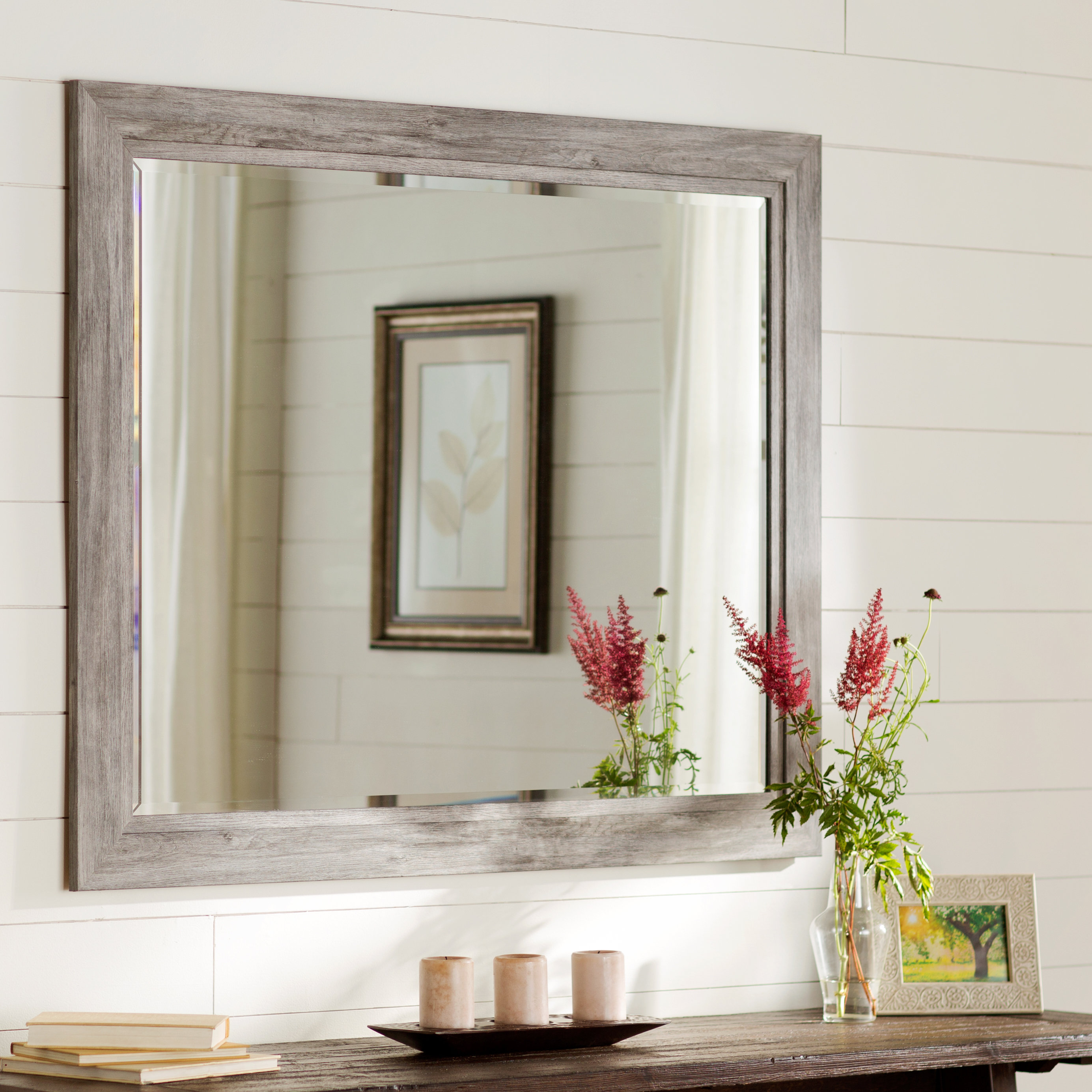 August Grove Traditional Beveled Accent Mirror Throughout Alie Traditional Beveled Distressed Accent Mirrors (Image 7 of 20)