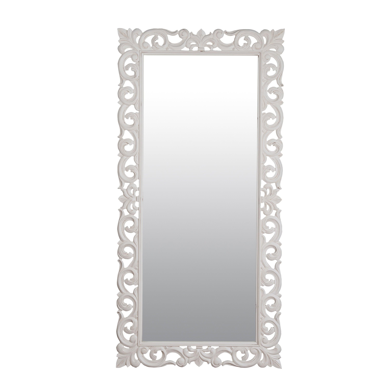 """Aumsville 78"""" Vintage White Rectangular Accent Mirror – Antique White Regarding Bristol Accent Mirrors (View 7 of 20)"""
