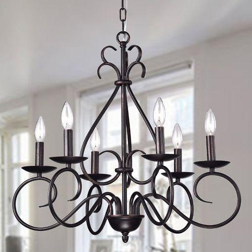 Aura 6 Light Candle Style Chandelier #birchlane   Light Throughout Diaz 6 Light Candle Style Chandeliers (Image 2 of 20)