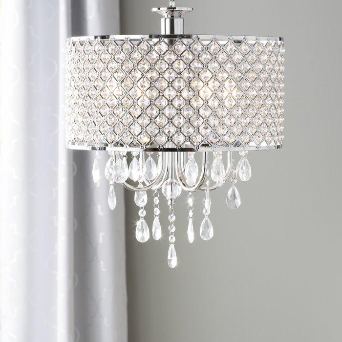 Aurore 4 Light Crystal Chandelier Throughout Von 4 Light Crystal Chandeliers (Image 2 of 20)