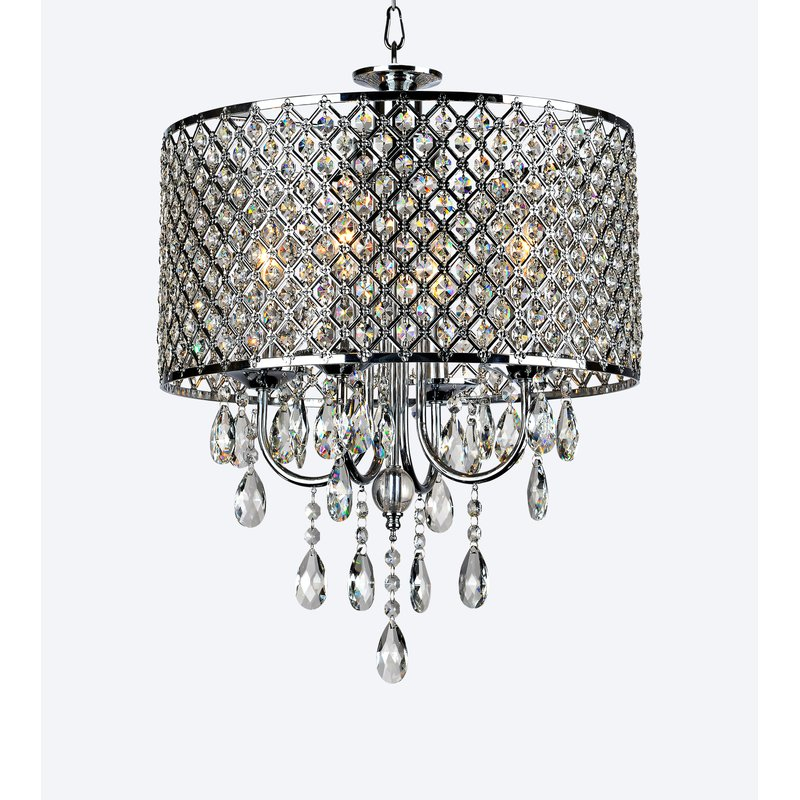 Aurore 4 Light Crystal Chandelier With Regard To Von 4 Light Crystal Chandeliers (Image 3 of 20)