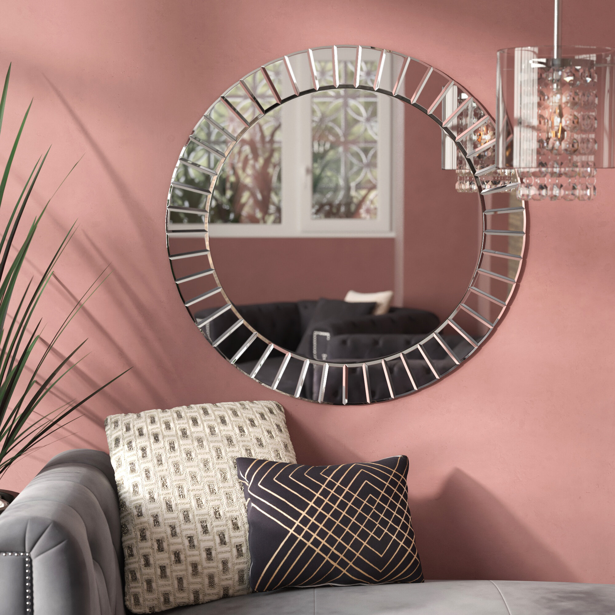Avanley Round Modern & Contemporary Beveled Accent Mirror Intended For Lidya Frameless Beveled Wall Mirrors (Image 6 of 20)