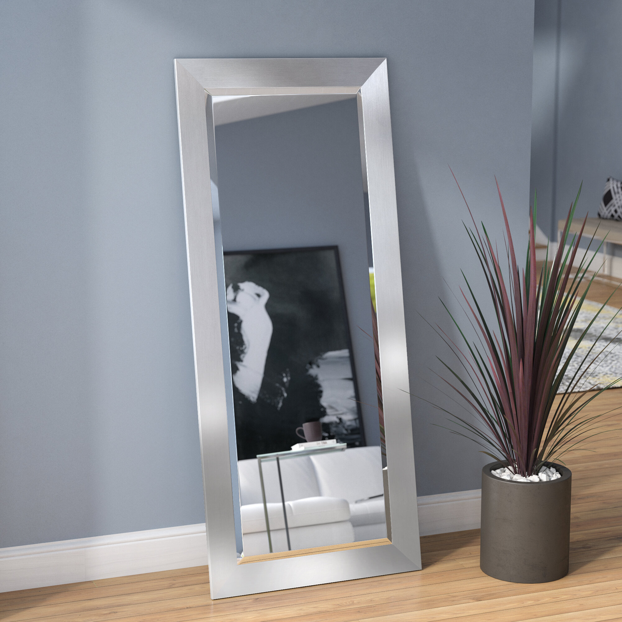 Bahamas Silver Modern And Contemporary Beveled Wall Mirror With Modern & Contemporary Beveled Wall Mirrors (View 7 of 20)