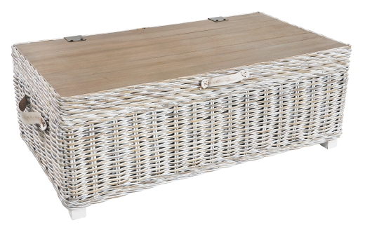 Bali Rattan Natural White Washed Hand Crafted Storage Trunk Coffee Table In Rustic Coffee Tables With Wicker Storage Baskets (Image 1 of 25)