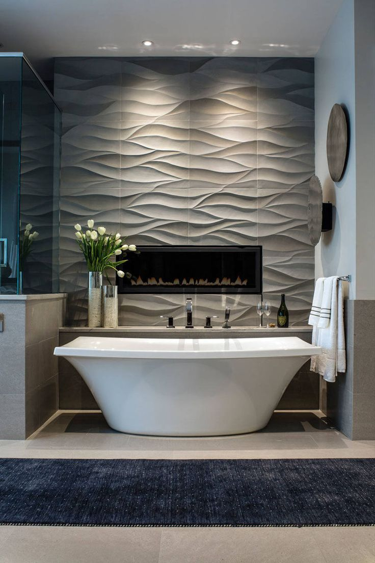 Bathroom Tile Idea – Install 3D Tiles To Add Texture To Your With Hussain Tile Accent Wall Mirrors (Image 3 of 20)