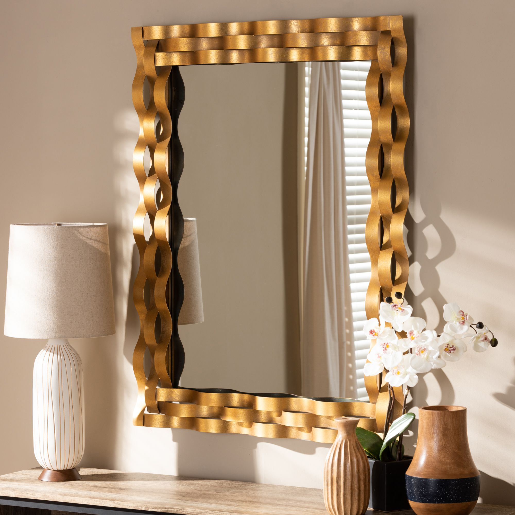 Baxton Studio Arpina Modern And Contemporary Antique Gold Within Modern & Contemporary Beveled Accent Mirrors (View 20 of 20)