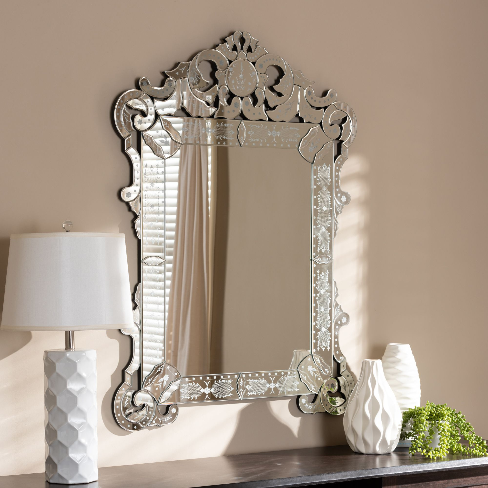 Baxton Studio Floriana Classic And Traditional Silver In Traditional Accent Mirrors (Image 1 of 20)
