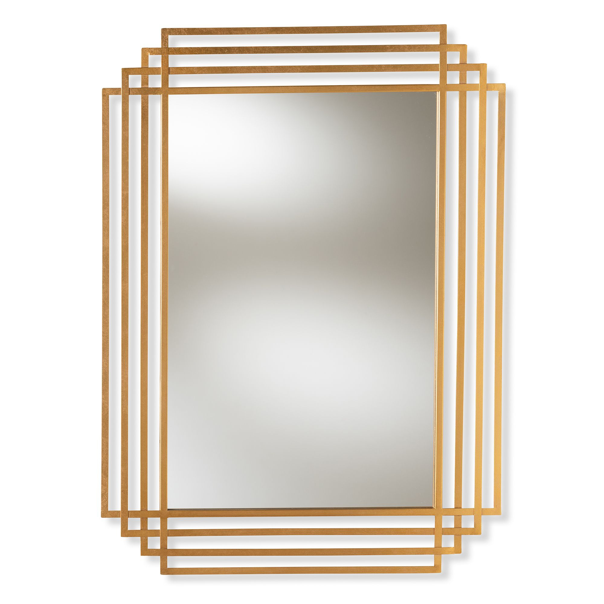 Baxton Studio Kalinda Art Deco Antique Gold Finished Intended For Rectangle Accent Wall Mirrors (View 13 of 20)