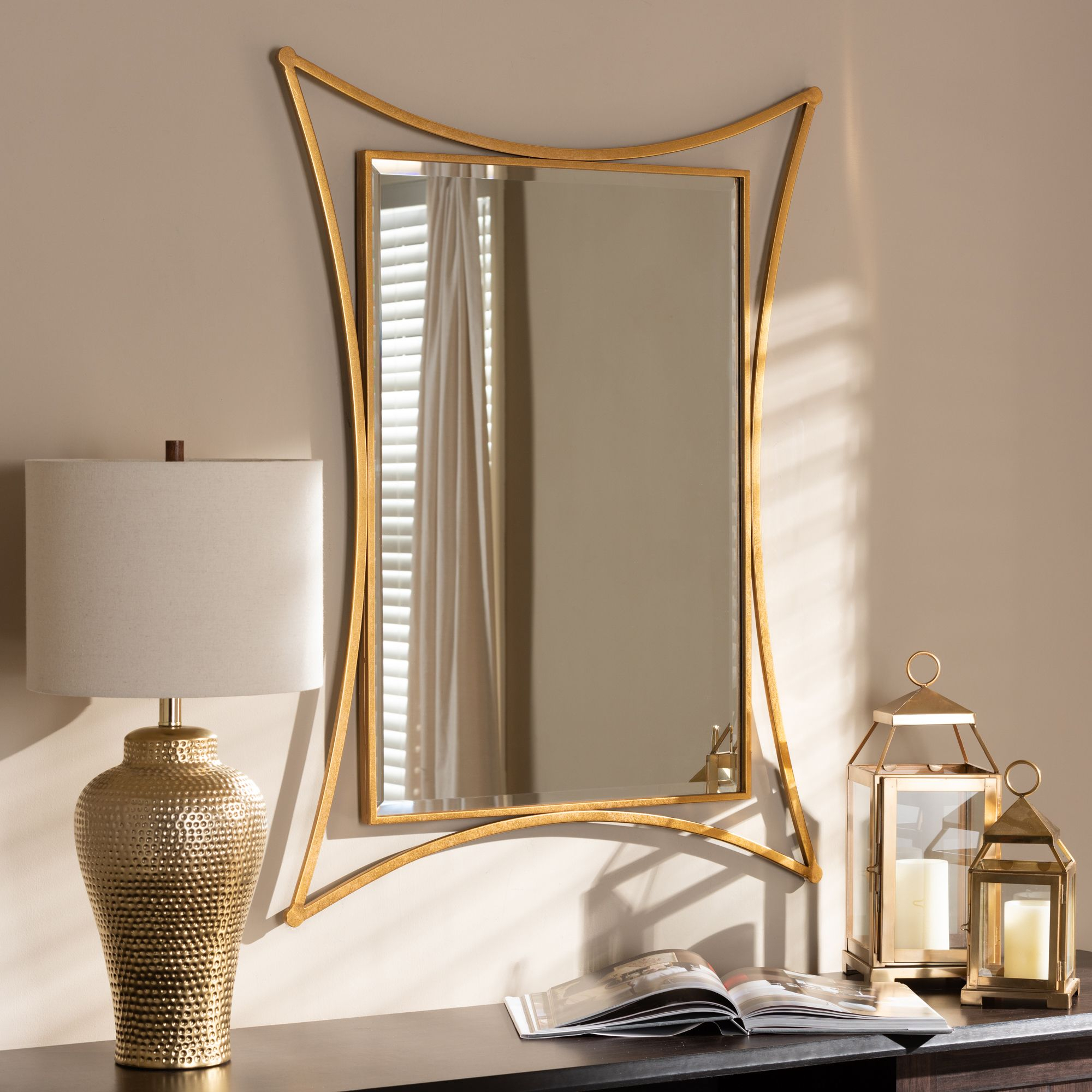 Baxton Studio Melia Modern And Contemporary Antique Gold With Knott Modern & Contemporary Accent Mirrors (Image 3 of 20)