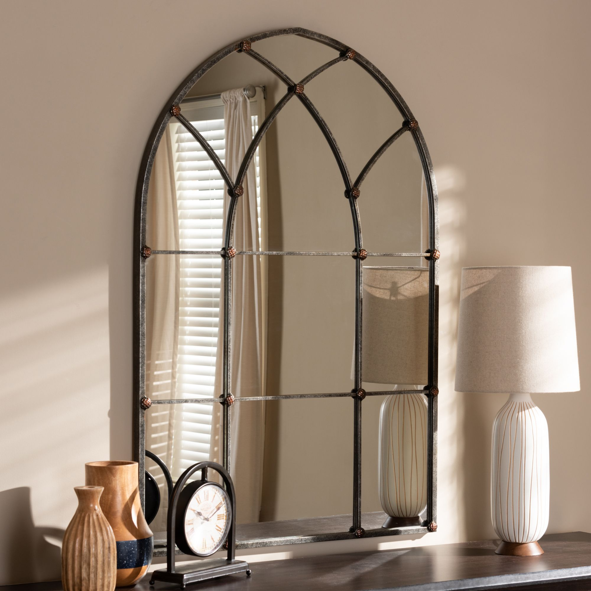 Baxton Studio Tova Vintage Farmhouse Antique Silver Finished Throughout Romain Accent Mirrors (Photo 10 of 20)