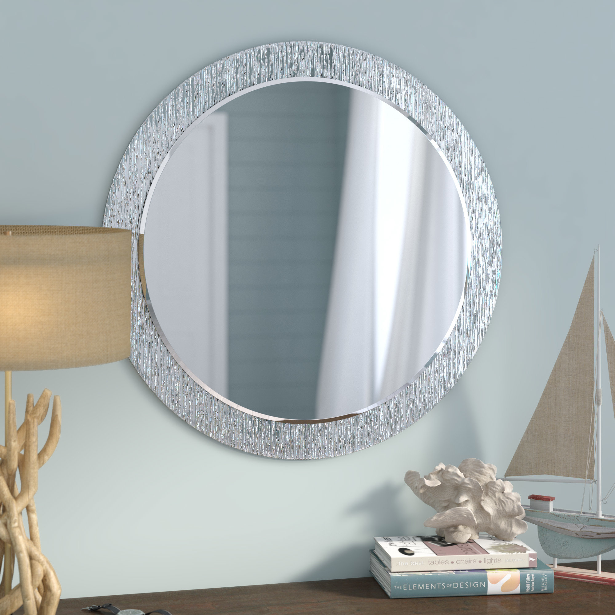 Beachcrest Home Point Reyes Molten Round Wall Mirror With Tata Openwork Round Wall Mirrors (Image 4 of 20)