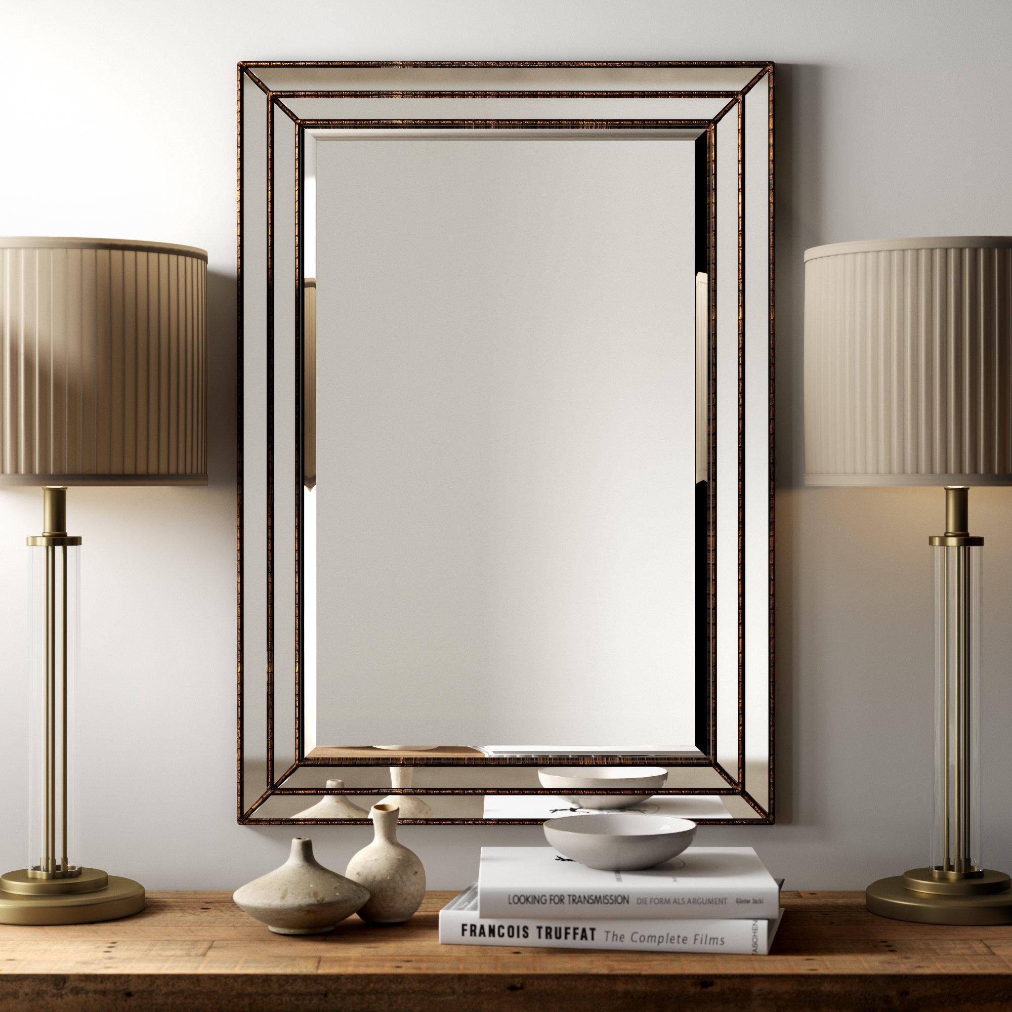 Beaded Beveled Mirror | Wayfair Throughout Kristy Rectangular Beveled Vanity Mirrors In Distressed (View 16 of 20)