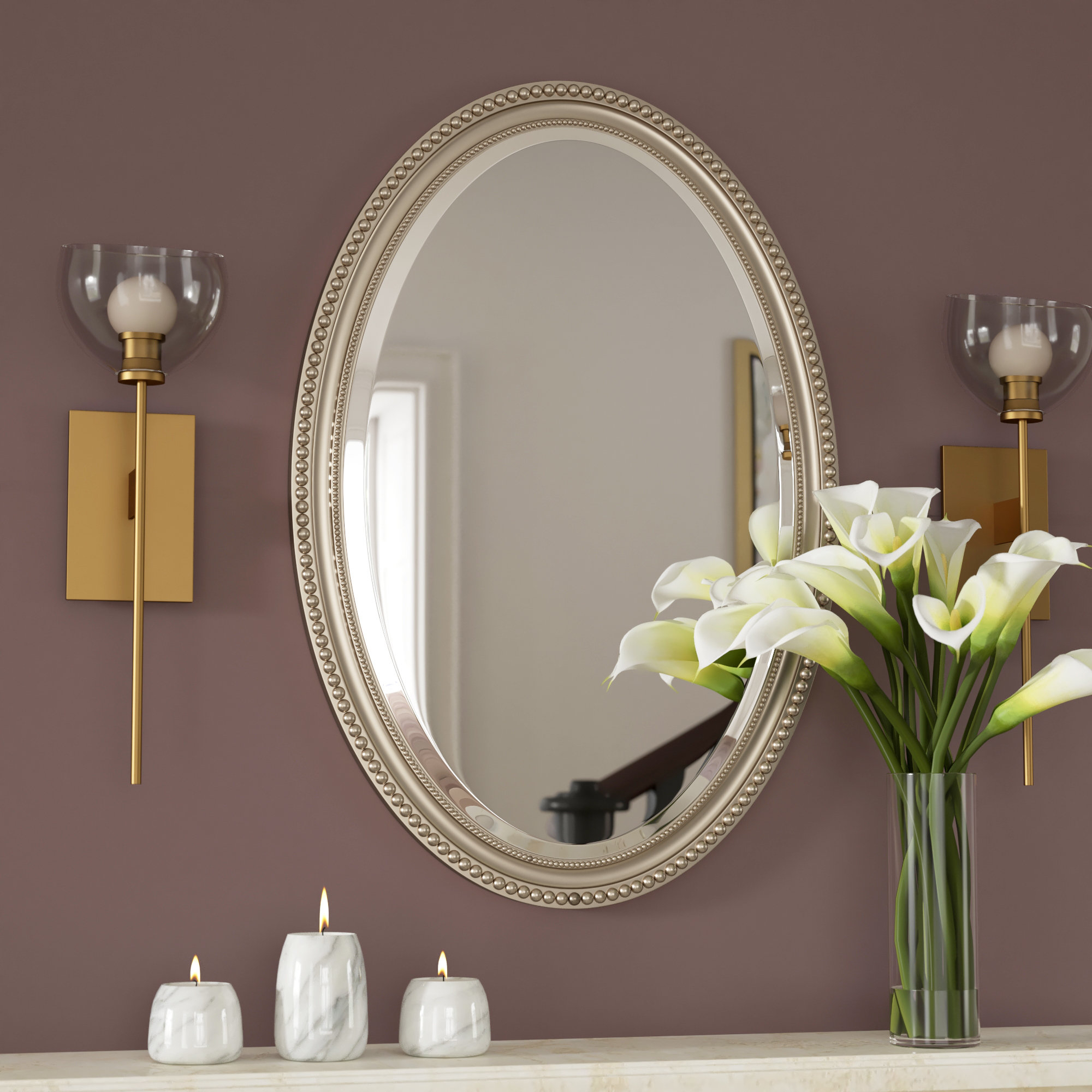 Beaded Oval Mirror | Wayfair Intended For Glen View Beaded Oval Traditional Accent Mirrors (View 6 of 20)