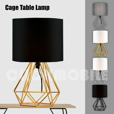 Bedside Table Lamps Geometric Drum Shade Lamp Home Lounge Light Modern  Lighting | Ebay Intended For Akash Industrial Vintage 1 Light Geometric Pendants (Image 7 of 25)