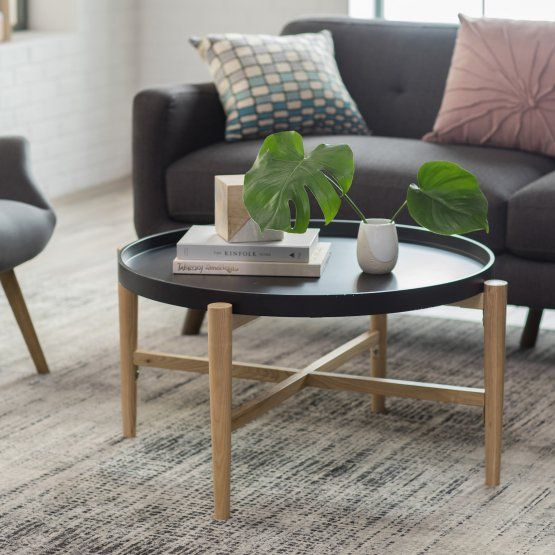 Belham Living Lincoln 2 Tone Tray Top Coffee Table – Black Regarding Handy Living Miami White Oval Coffee Tables With Brown Metal Legs (View 22 of 25)