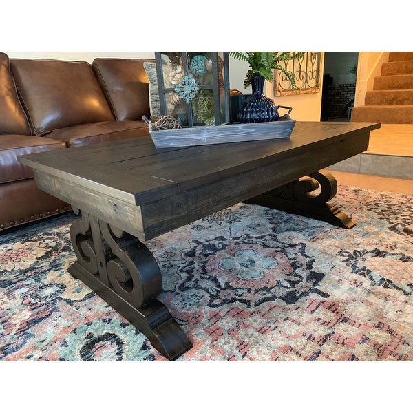 Bellamy Traditional Weathered Peppercorn Storage Coffee Table Intended For Bellamy Traditional Weathered Peppercorn Storage Coffee Tables (View 3 of 25)