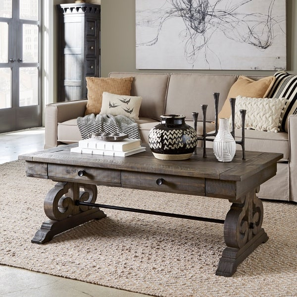 Featured Image of Bellamy Traditional Weathered Peppercorn Storage Coffee Tables