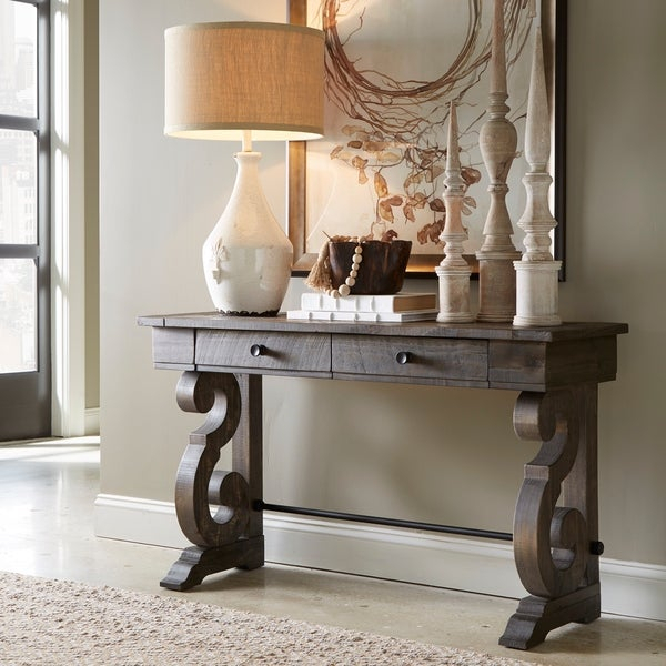 Bellamy Traditional Weathered Peppercorn Storage Console Table Intended For Bellamy Traditional Weathered Peppercorn Storage Coffee Tables (View 4 of 25)