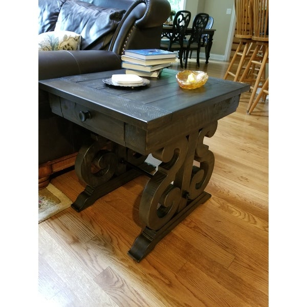 Bellamy Traditional Weathered Peppercorn Storage End Table Intended For Bellamy Traditional Weathered Peppercorn Storage Coffee Tables (View 2 of 25)