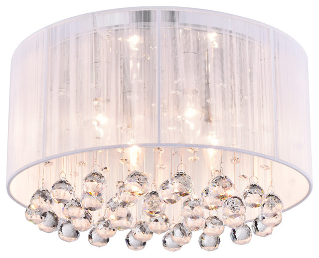 Belle 4 Light White Thread And Chrome Flush Mount With Hanging Crystals Glam Within Donna 4 Light Globe Chandeliers (View 15 of 20)