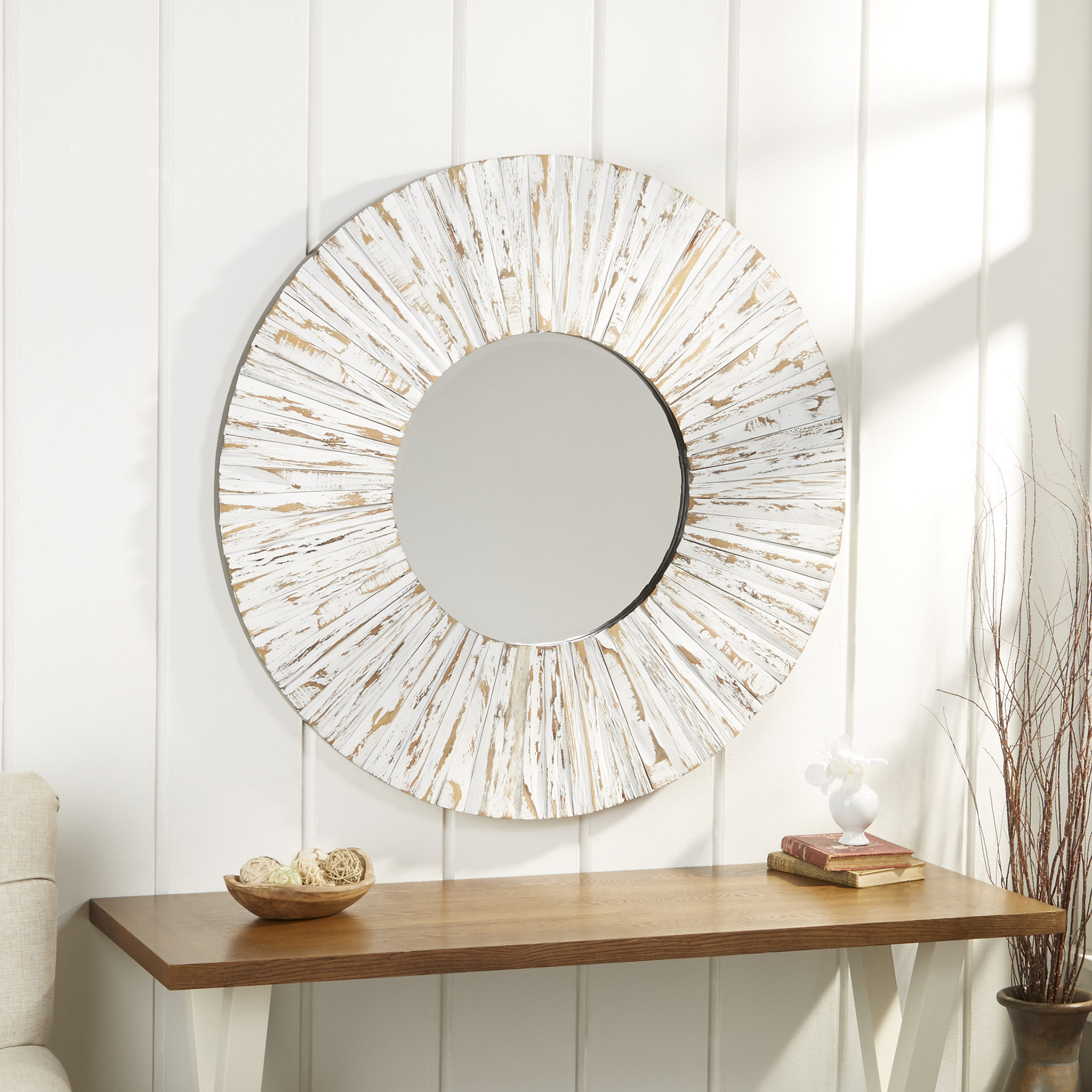 Bellflower Accent Mirror Throughout Karn Vertical Round Resin Wall Mirrors (Image 1 of 20)
