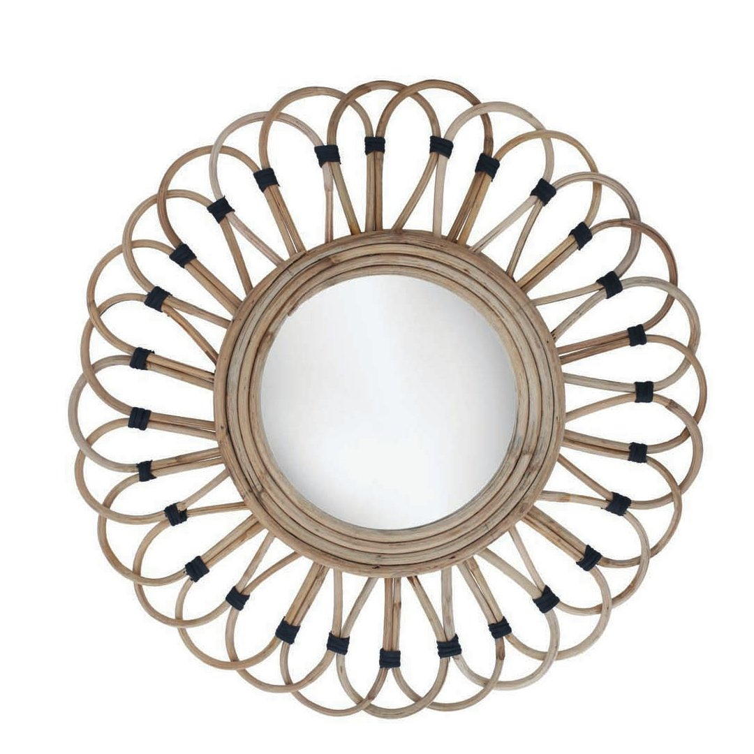 Benhurst Rattan Accent Mirror For Karn Vertical Round Resin Wall Mirrors (Image 2 of 20)