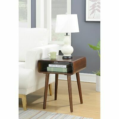 Bentwood Accent Round Sofa Side End Table With Storage Bag Inside Porch & Den Shilshole Tempered Glass Bentwood Accent Tables (View 24 of 47)